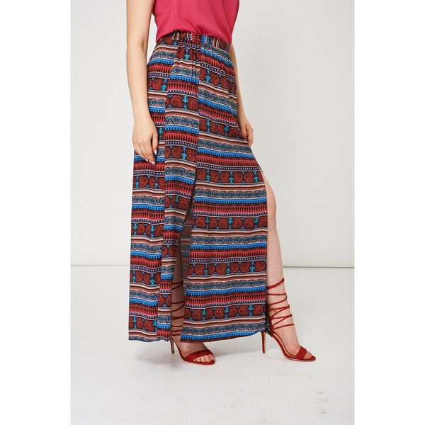 Abstract Pattern Split Front Maxi Skirt