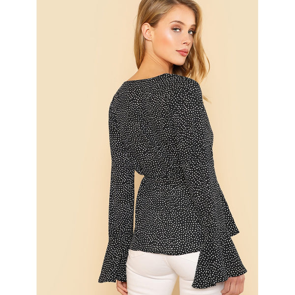 Bell Sleeve Plunging Dot Top