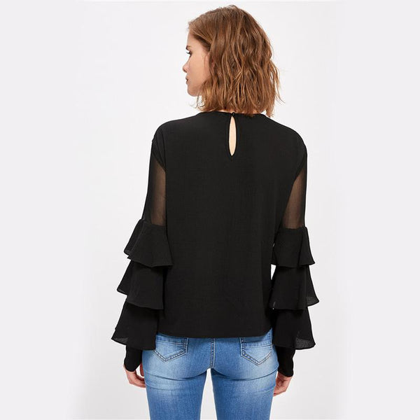 Black Long Sleeve Women's Mesh Insert Tiered Bell Sleeve Blouse