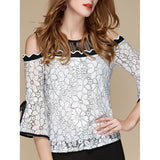 Bell Sleeve Open Shoulder Lace Blouse