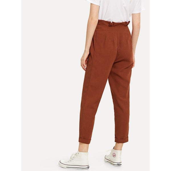 Button Up Frill Trim Rolled Hem Pants