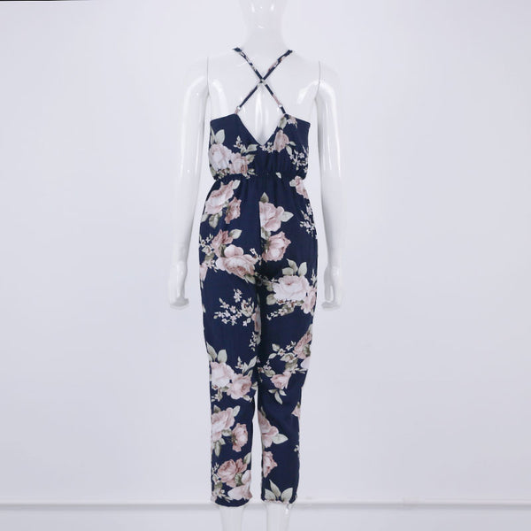 Blue Sexy Deep V Neck lace Up Sleeveless Floral Back Cross Casual Jumpsuit