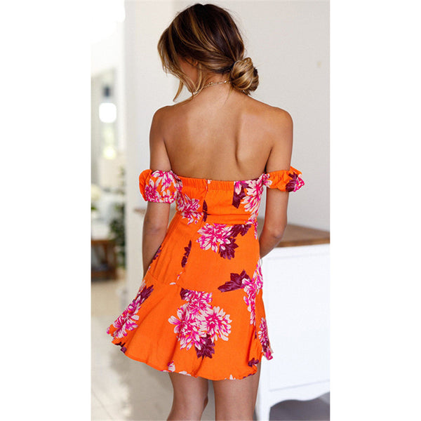 Flower Print Orange Bodycon Dress