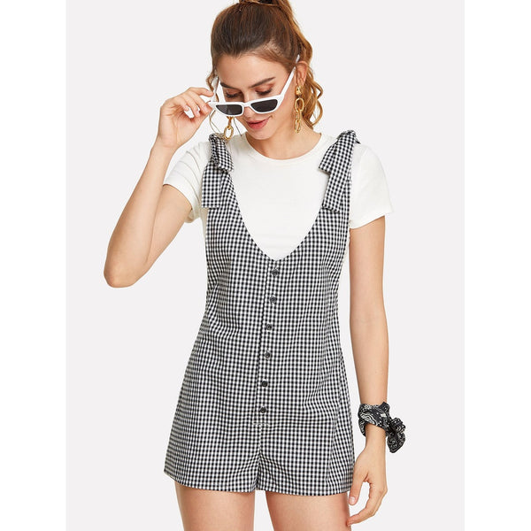 Button Up Gingham Romper With Tied Strap