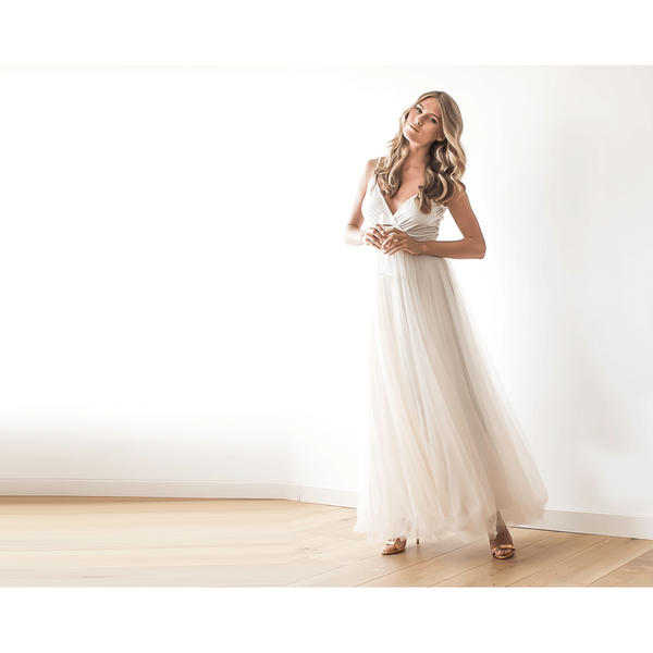Champagne wrap maxi tulle dress 1053
