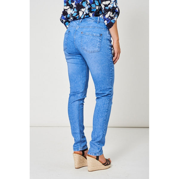 Casual Blue Mid-Rise Jeans with Classic 5-Pocket Design
