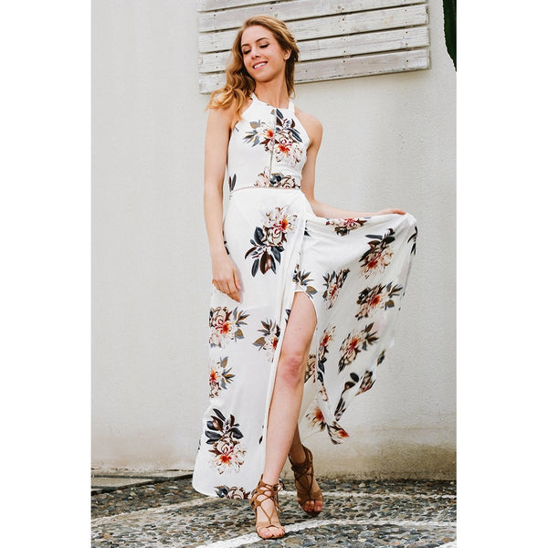 Backless Floral Halter Chiffon Long Dress