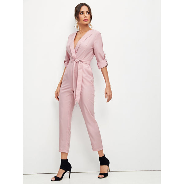 Self Belted Rolled Sleeve Plunging Jumpsuit