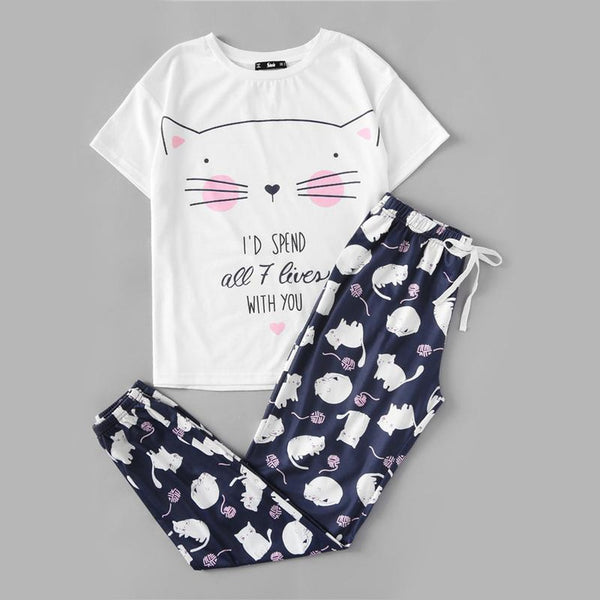 Cat Print White Round Neck Tee and Blue Pants Pyjamas