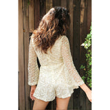 Deep V-neck Hollow Out Long Flare Sleeve Roper
