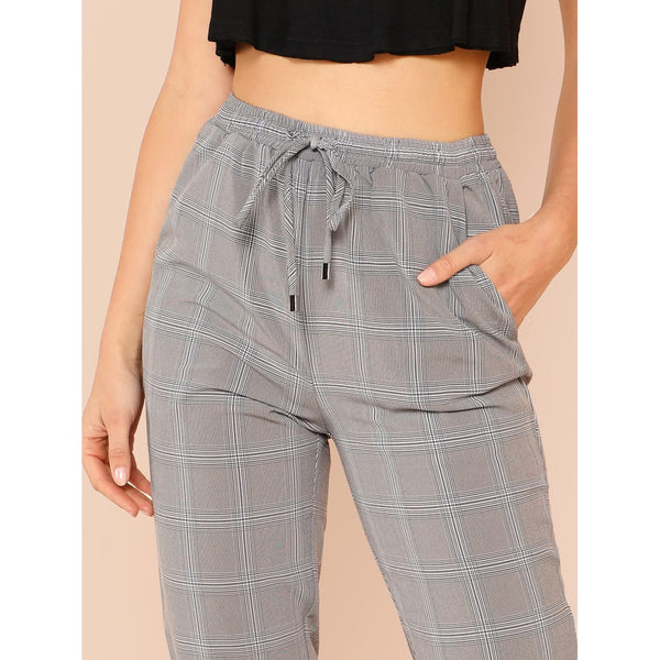 Pocket Patched Plaid Drawstring Pants