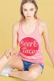 Beer Tacos Racer Back Scoop Neck Tank Top