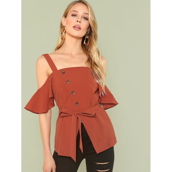 Button Embellished Cold Shoulder Overlap Belted Top