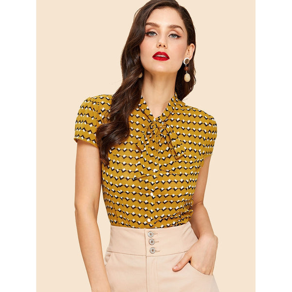 Geo Print Tied Neck Shirt