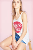 Beer Tacos Scoop Neck Flowy Tank Top