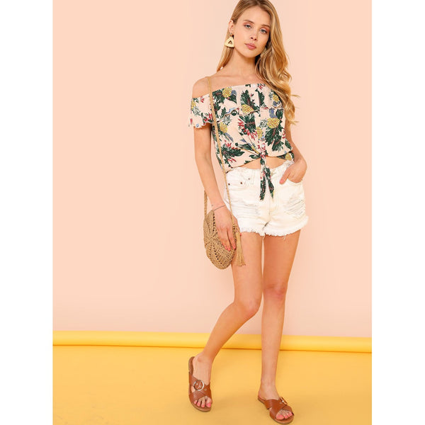 Button Up Knot Front Tropical Flounce Bardot Top
