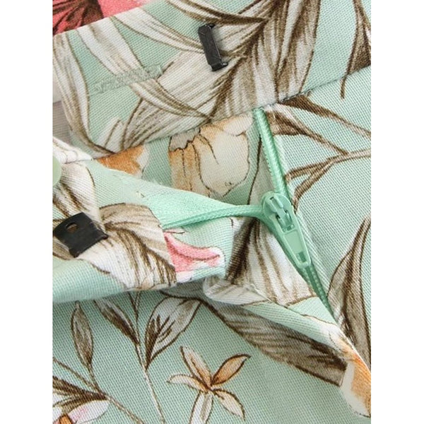 Botanical Print Frill Trim Pants