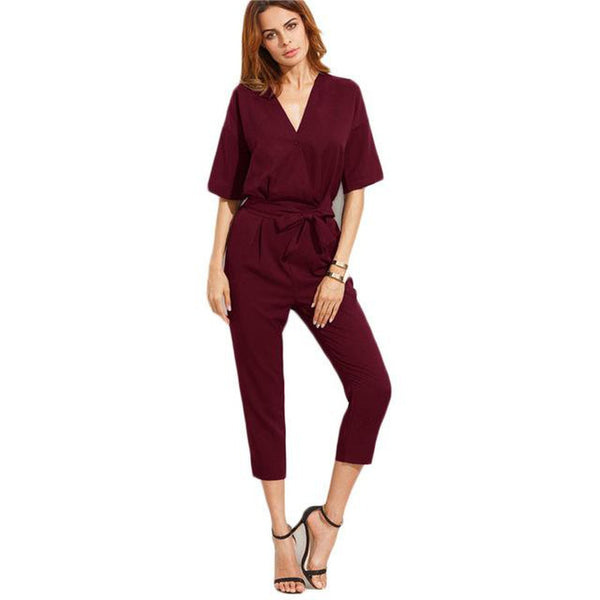 Burgundy V Neck Self Tie Jumpsuit