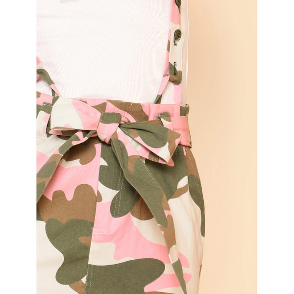 Camo Print Suspender Skirt with Belt