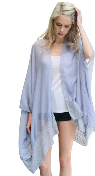 Lace Border Trim Kimono with Armholes - 2 Colors