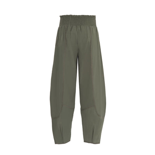 Elegant summer pant in pure cotton in solid color
