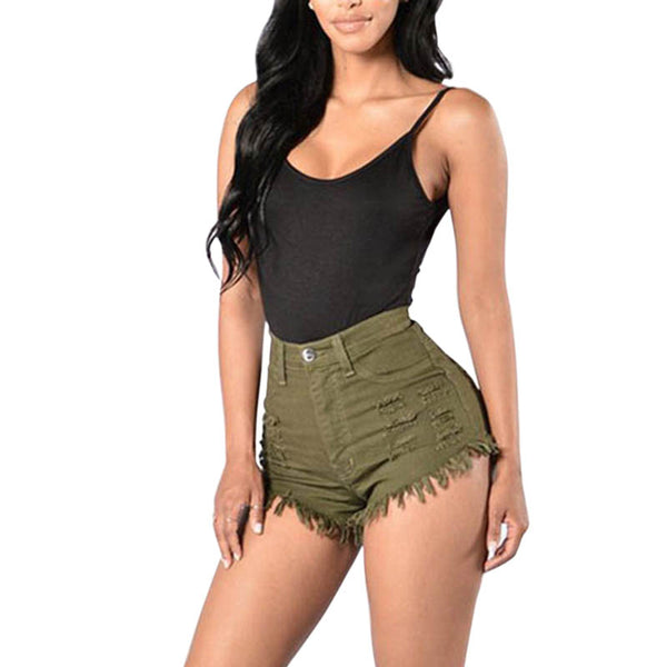 High Waist Solid Color Frayed Casual Tight Jeans Shorts