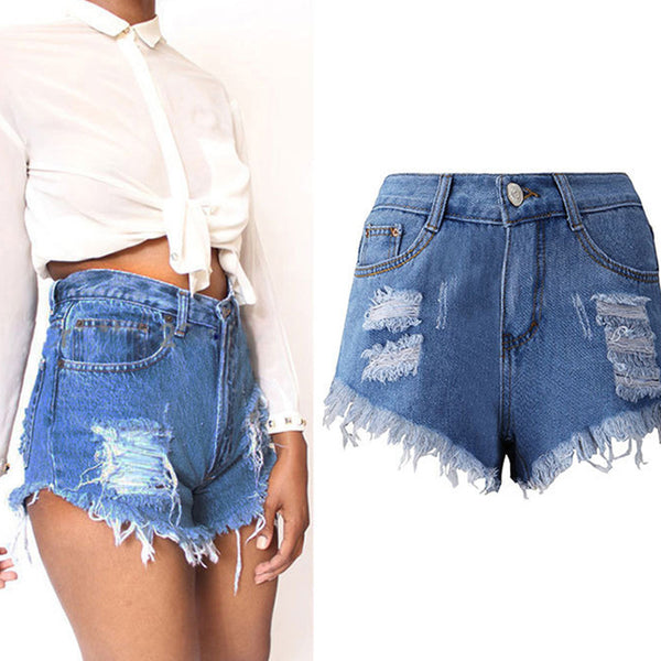White Fringed High Waisted Loose Tassel Ripped Sexy Denim Shorts