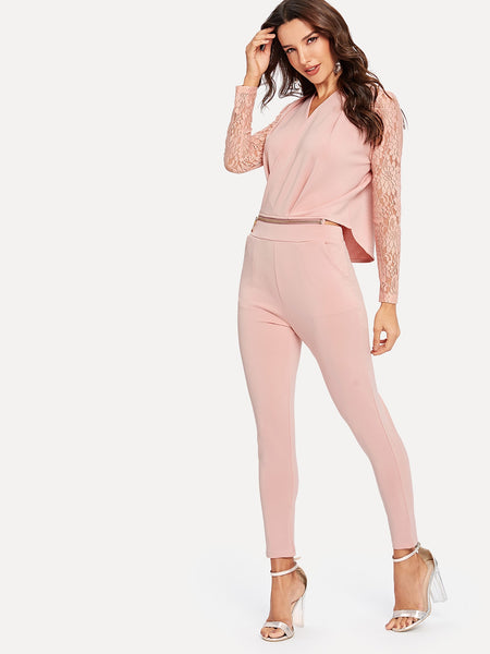 Lace Sleeve Zip Detail Jumpsuit