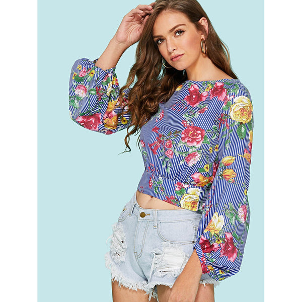 Bishop Sleeve Tie Back Mixed Print Top