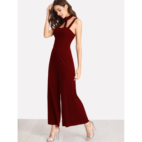 Caged Front Solid Wide Leg Jumpsuit