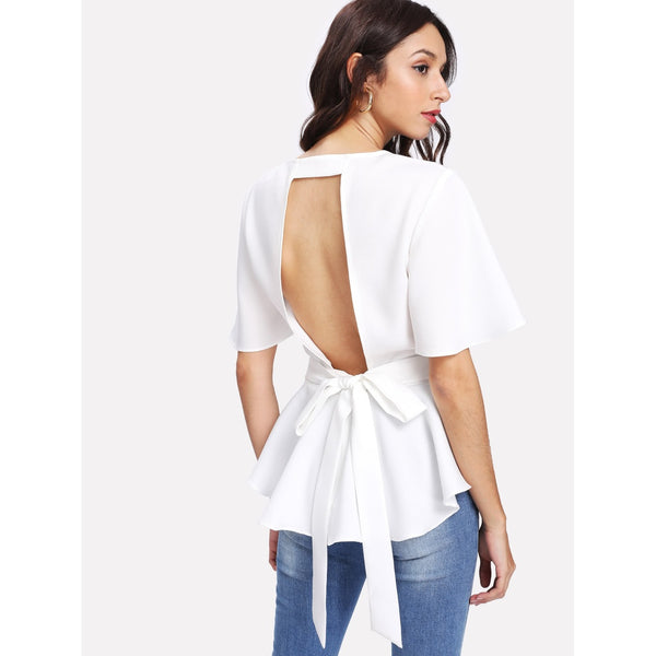 Bow Tie Cutout Back Peplum Top