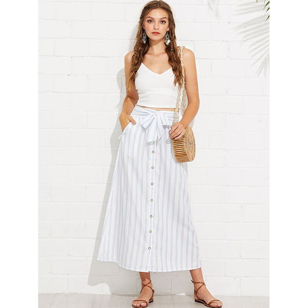 Button Through Belted Striped Skirt