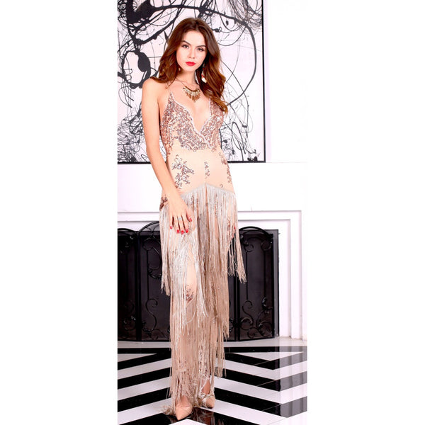 Beige Sequin Jumpsuit