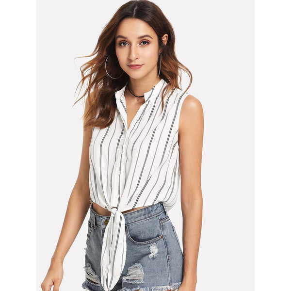Button Up Striped Knot Mock Top