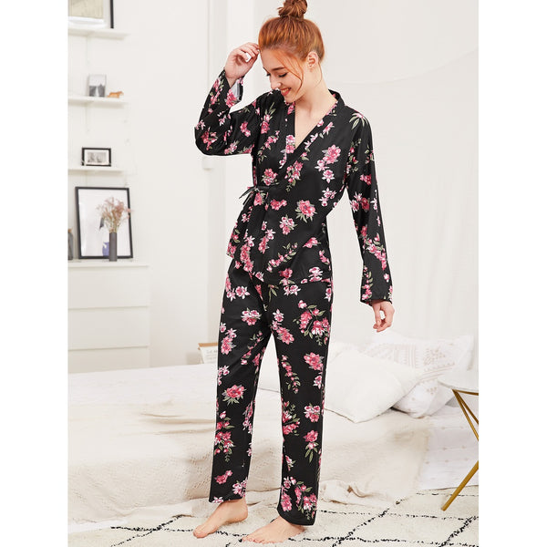 Calico Print Wrap Top & Pants Pj Set
