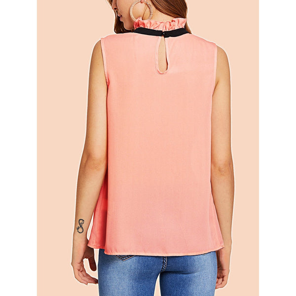 Frilled Contrast Tie Neck Shell Top