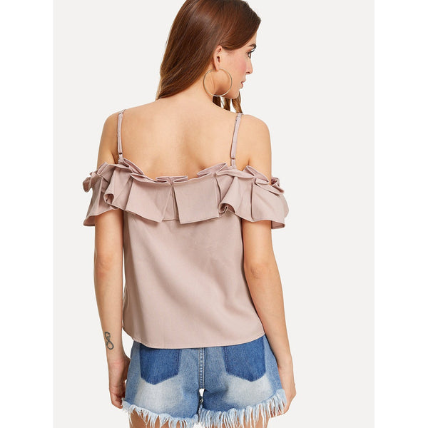 Box Pleated Ruffle Cold Shoulder Top