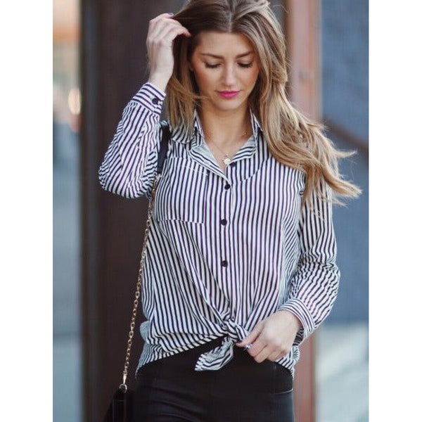 Contrast Vertical Striped Shirt