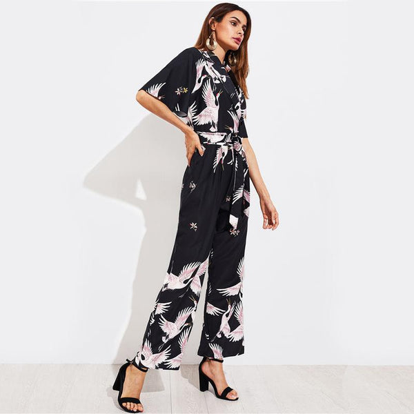 Bird Print Self Tie Box Pleated Wide Leg Jumpsuit