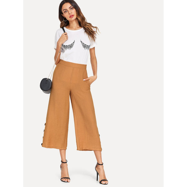 Button Accent Zip Back Wide Leg Pants
