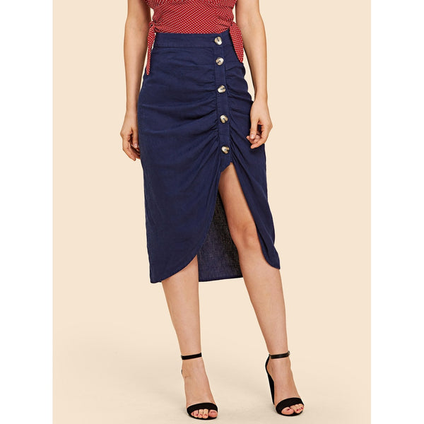 Button Front Ruched Skirt