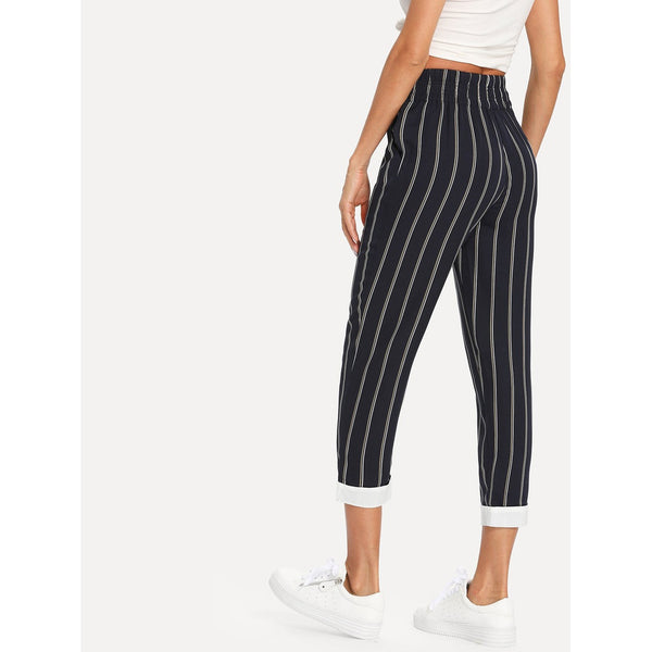 Contrast Hem Pinstripe Tapered Pants