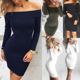 Bodycon Dress Off Shoulder Solid Color Long Sleeve