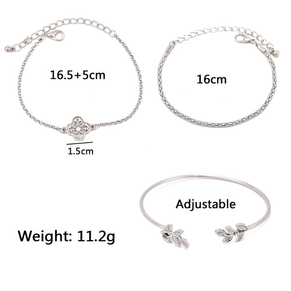 3 Pcs/set Silve Hollow Leaves Retro Bracelet