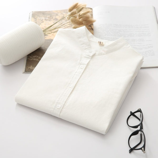 Casual Cotton Stand White Long Sleeve Blouse
