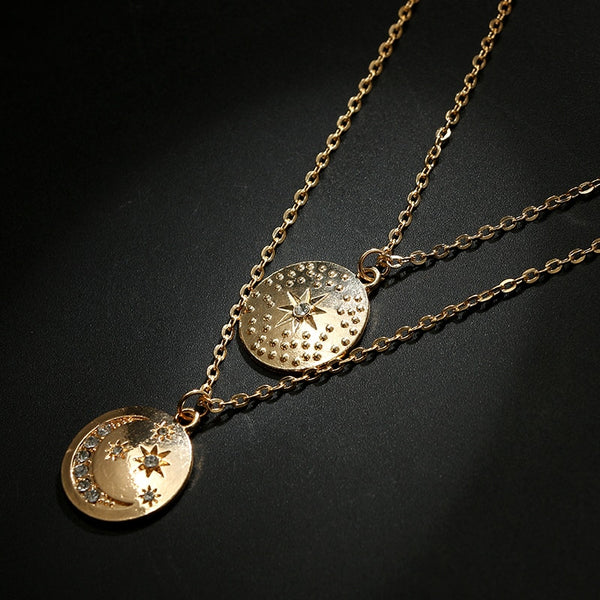 Boho Star Moon Double Layered Necklace