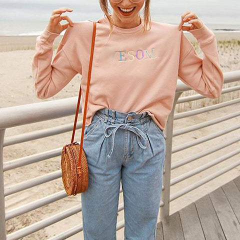 Women's Letter Print Pink Sweater