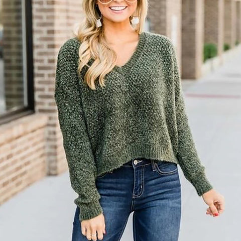 Casual V-neck Loose Knit Sweater