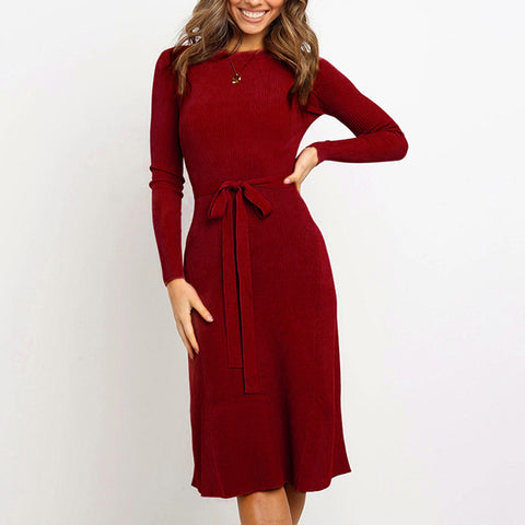 Women's Commuting Round Neck Long Sleeve Tight Knit Dress