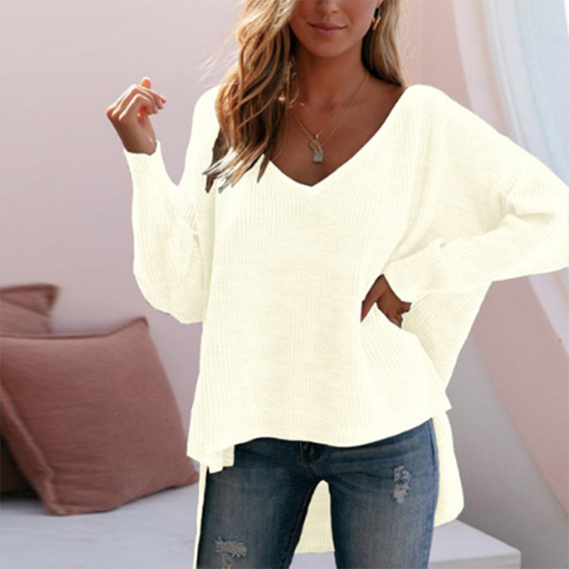 Fashion Deep V Long Batwing Sleeves Sweater